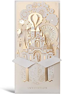 WISHMADE Laser Cut Wedding Invitations with 3D Bride and Groom Blank Inner Sheets and Envelopes for Wedding Invite Engagement, 1pcs, Sample