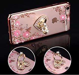 (Rose Gold: Pink Floral) - iPhone 8 Plus Case,iPhone 7 Plus Case,PHEZEN Pink Flower Butterfly Bling Crystal Rhinestone Diamond Crystal Clear Back TPU Bumper Case with Ring Stand Holder Kickstand for iPhone 8 Plus /iPhone 7 Plus