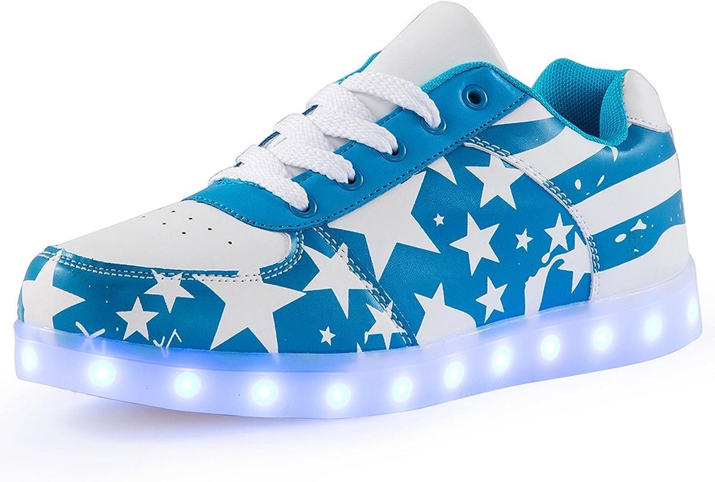 Sexphd Unisex LED Light Up shoes USA Flag USB Charging LED shoes for Men Women