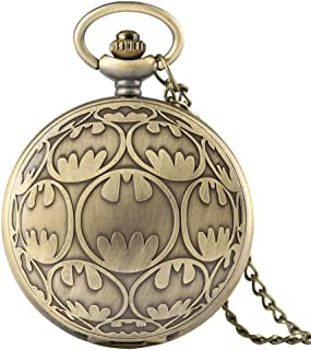 YXZQ Pocket Watch, Bronze Quartz Necklace Pendant Casual Fob Watches Men Clock Birthday Gifts for Kids Boys