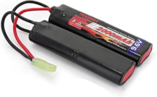 Tenergy Airsoft Battery 9.6V NiMH Nunchuck Battery with Mini Tamiya Connector High Capacity 2000mAh Battery Pack for Airsoft Guns