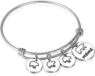 Anlive Mama Bear Bracelet with 1 2 3 Cubs Adjustable Bangle Bracelet Mom Gifts