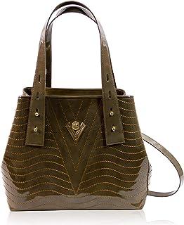 Valentino Orlandi Women's Large Handbag Tote Italian Designer Purse Jasper Green Genuine Leather Top Handle Satchel Crossbody Bag in Cinched Design with Wavy Embroidery