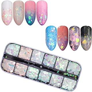 Nail Sequins Glitter kit, 12 Boxes holographic nail art Flakes, Nail Art Supplies Decals Decoration Face Eyes Hair Body