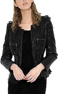 DISSA P601 Women Faux Leather Cropped Jacket Slim Coat Leather Jacket