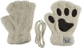 Starsource Cat Claw Paw Winter Plush Half Finger Gloves Mitten For Girls
