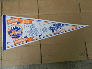 1986 NEW YORK METS NATIONAL LEAGUE CHAMPIONS WORLD SERIES PENNANT MINT