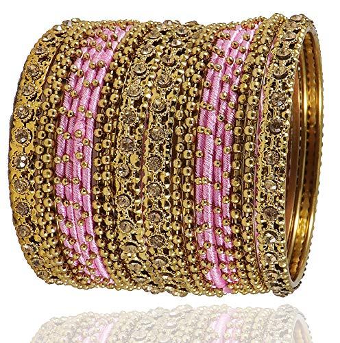 NMII Silk Fabric Metal Bangle for Women & Girls(Pink-2.4)