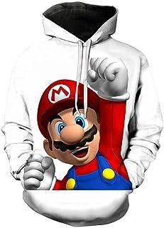 GAMESBD Hoodies Anime Super Mario Bros 3D Men Pullover Hooded Sweatshirt Long Sleeve Warm Trend Outerwear