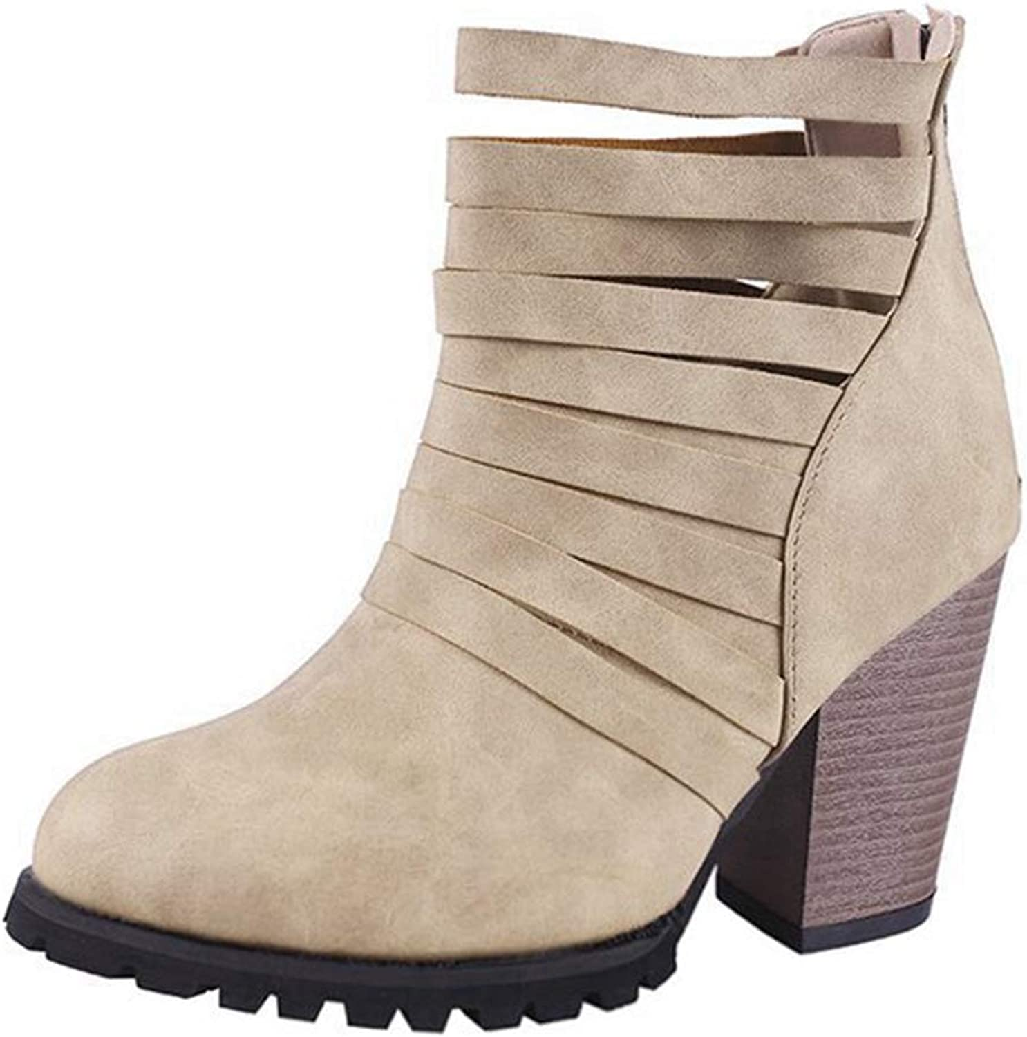 CYBLING Womens Western Faux Suede Strappy Chunky Stacked Block Heel Ankle Booties
