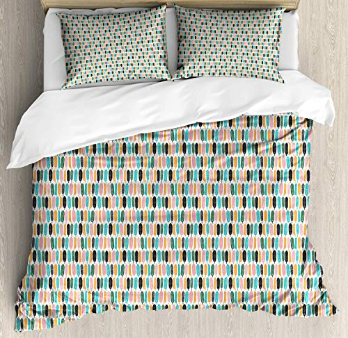 Feather King Bedding Duvet Cover 3 Piece, Doodle Style Quills with Stripes and Motifs, Soft Bedding Protects with 1 Comforter Cover 2 Pillowcase, Orange Charcoal Grey Dark Seafoam and Pale Pink