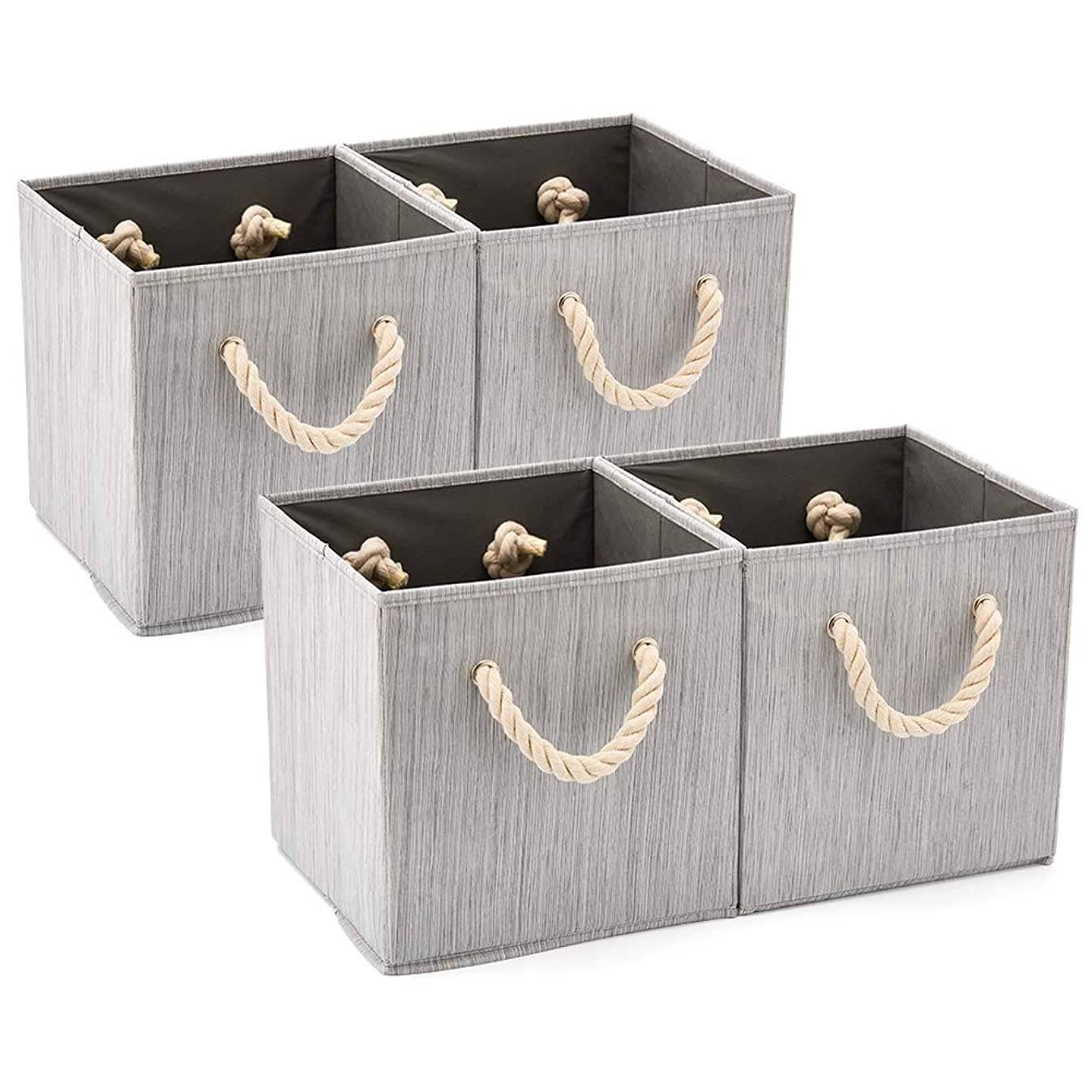 Set of 4 EZOWare Foldable Bamboo Fabric Storage Bin with Cotton Rope Handle, Collapsible Resistant Basket Box Organizer for Shelves, Closet, and More – (10.5x10.5x11 inch) (Gray)