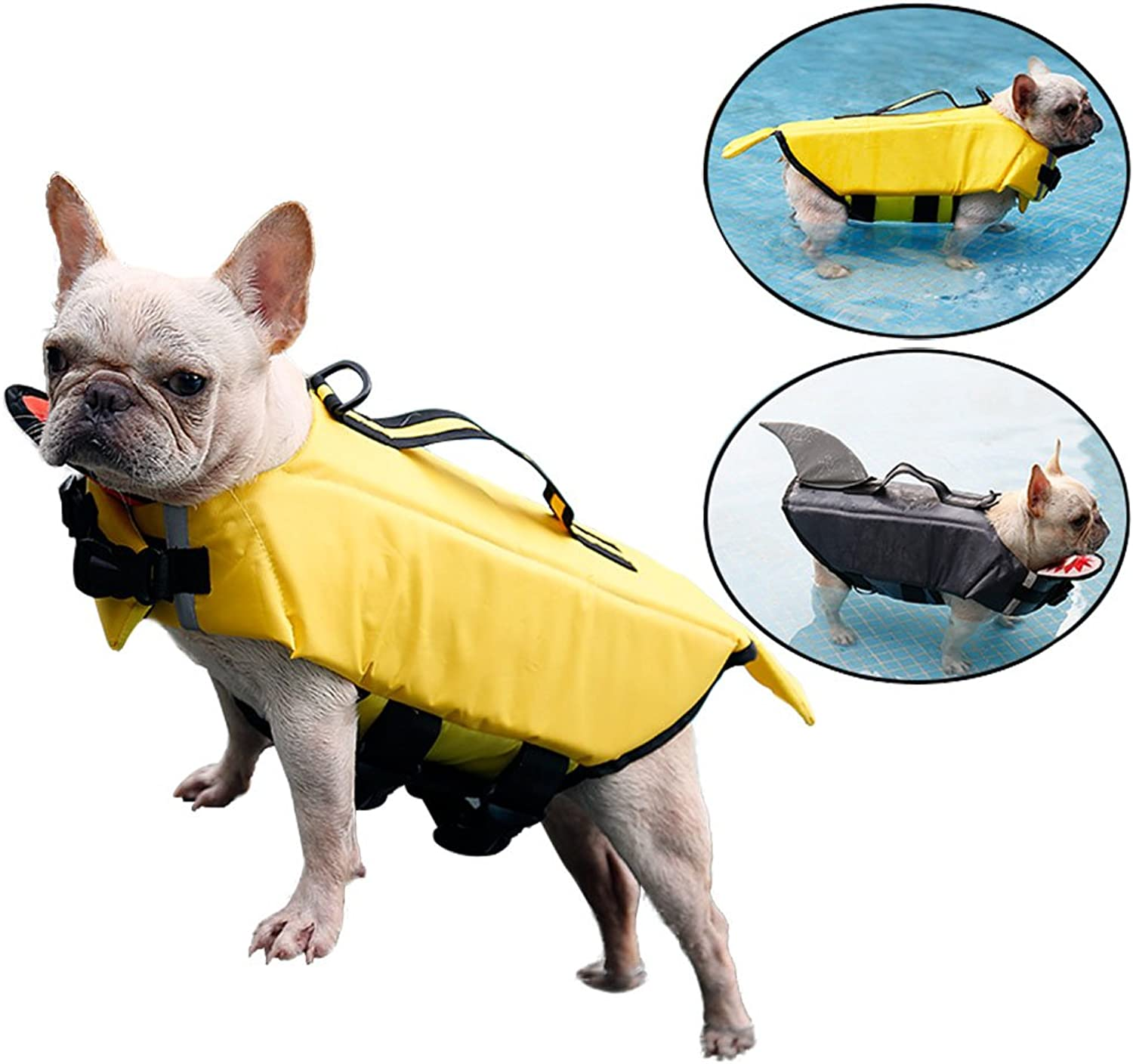 HORHIN Dog Saver Reflective Life Jacket, Pet Safety Floatation Swimsuit Vest with Adjustable Buckles,Dog Lifesaver Preserver Coat for Swimming, Boating, Hunting (Small, Yellow)