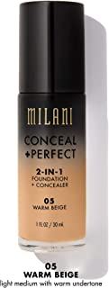 Milani Conceal + Perfect 2-in-1 Foundation + Concealer - Warm Beige (1 Fl. Oz.) Cruelty-Free Liquid Foundation - Cover Under-Eye Circles, Blemishes & Skin Discoloration for a Flawless Complexion
