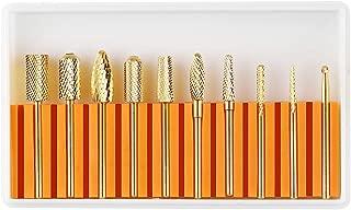 Makartt Nail Drill Bit Set, Gold Tungsten Carbide Diamond Nail Drill Bits 10Pcs Remove Acrylic Nails Gel Polish Nail Gel Drill Bit Manicure Pedicure 3/32 B-37
