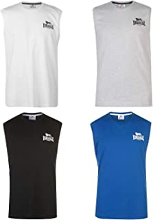 Official Brand Lonsdale Sleeveless T Shirt Mens Vest Tops Tank White/Black Small