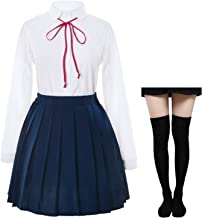 Japanese School Girls Sailer Dress Shirts Uniform Anime Cosplay Costumes with Socks Set(SSF12)