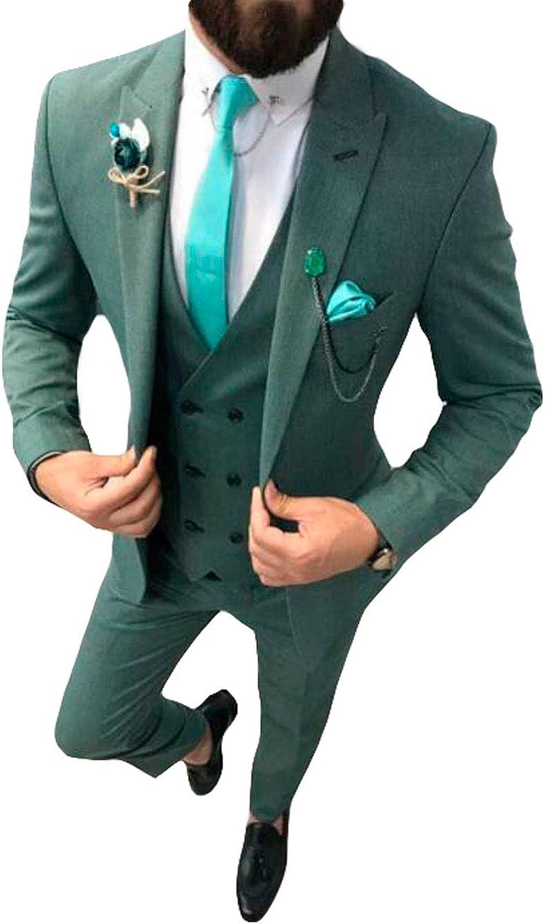 Men's 3 PC Peak Lapel Wedding Suits One Button Regular Fit Prom Suits Groom Tuxedos Business Suits