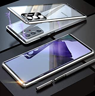 GT for Galaxy Note 20 Ultra Clear Case with Lens Protection Cover, Magnetic Metal Frame Single-Sided Tempered Glass Protec...