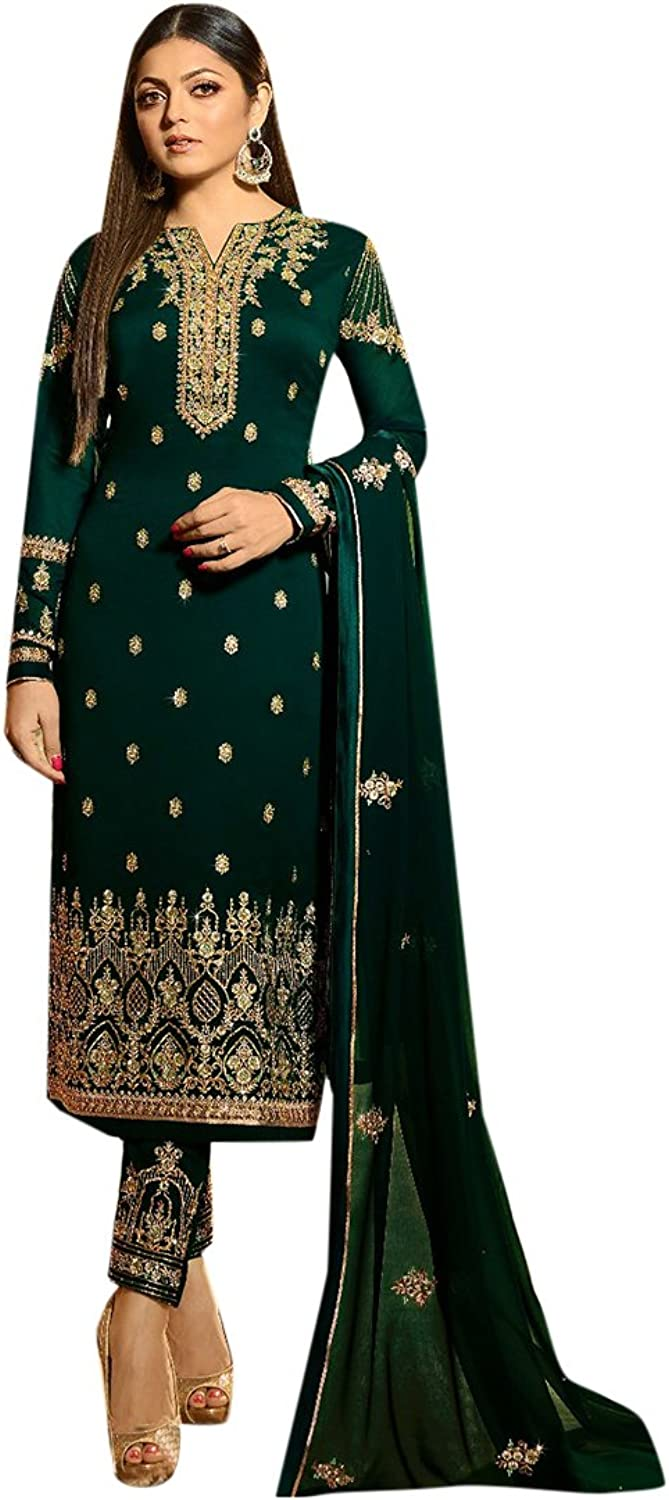 Designer Eid Bollywood Ethnic Collection Green Straight Kameez Salwar party wear Ceremony Muslim 2642 5