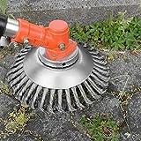 Yuet Brosse de débroussailleuse à gazon de 51,5cm en acier massif, avec roue en fil d'acier massif pour jardin et mauvaises herbes, brosse rotative de rechange pour tonte