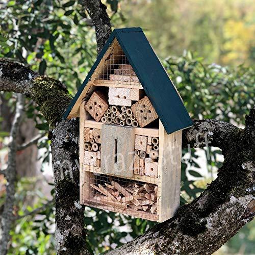 Casa para insectos de Madera Natural y Bambú - Anti dañino y Pesticida Natural