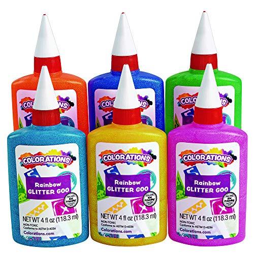 Colorations GLITGLUE Rainbow Glitter Glue, 4 oz. (Pack of 6)