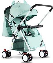SHJMANST Seguridad Portátil Carrito de Bebé Plegable Anti Choque Vista Alta Carro Infantil, Silla de Paseo Calesa Plegable, Cinturón de Seguridad de Cinco Puntos Silla, Green