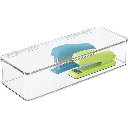 mDesign boîte de rangement pour le bureau – boîte empilable en plastique sans BPA – longue bac de rangement à couvercle pour stylos, gommes et autres fournitures de bureau – transparent