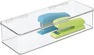 mDesign boîte de rangement pour le bureau – boîte empilable en plastique sans BPA – longue bac de rangement à couvercle po...