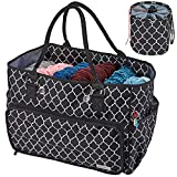 NICOGENA Knitting Bag, Portable Yarn Storage Tote for Yarn Skeins and Accessories Tangle Free with Mini Yarn Drum and 4 Oversized Grommets, Lantern Black