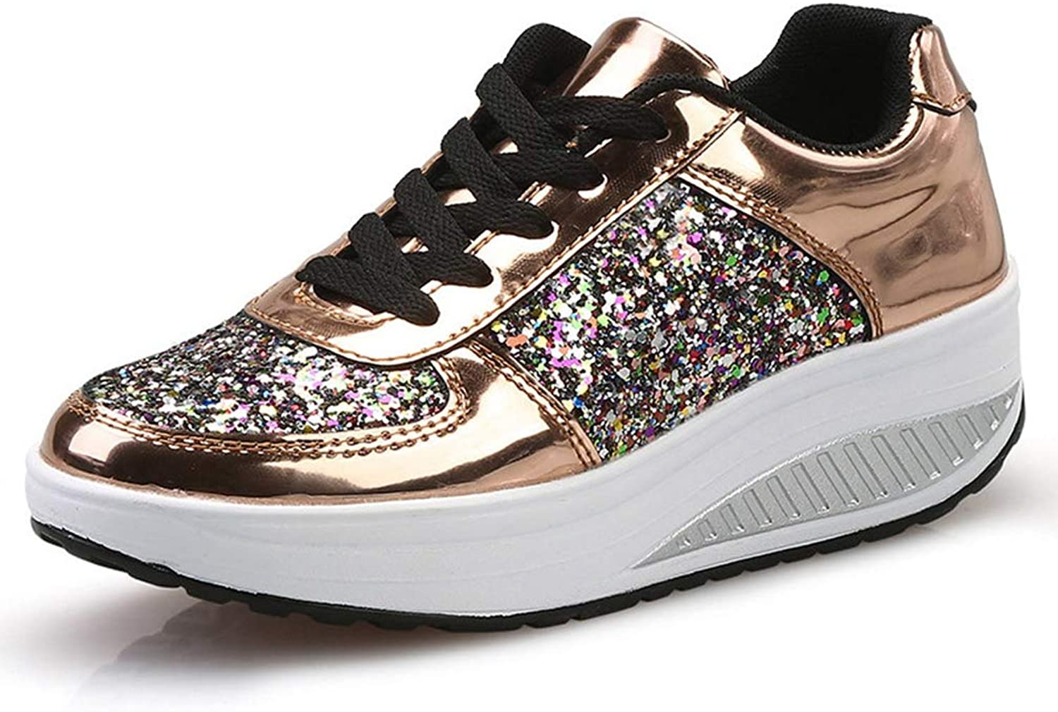 Hoxekle Woman Sequins Bling Fashion Waterproof Wedges Platform Sneakers Female PU Fashion Casual Cool Party shoes