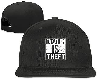 Taxation is Theft Flat Bill Snapback Trucker Baseball Cap Sun Hat with Men Black