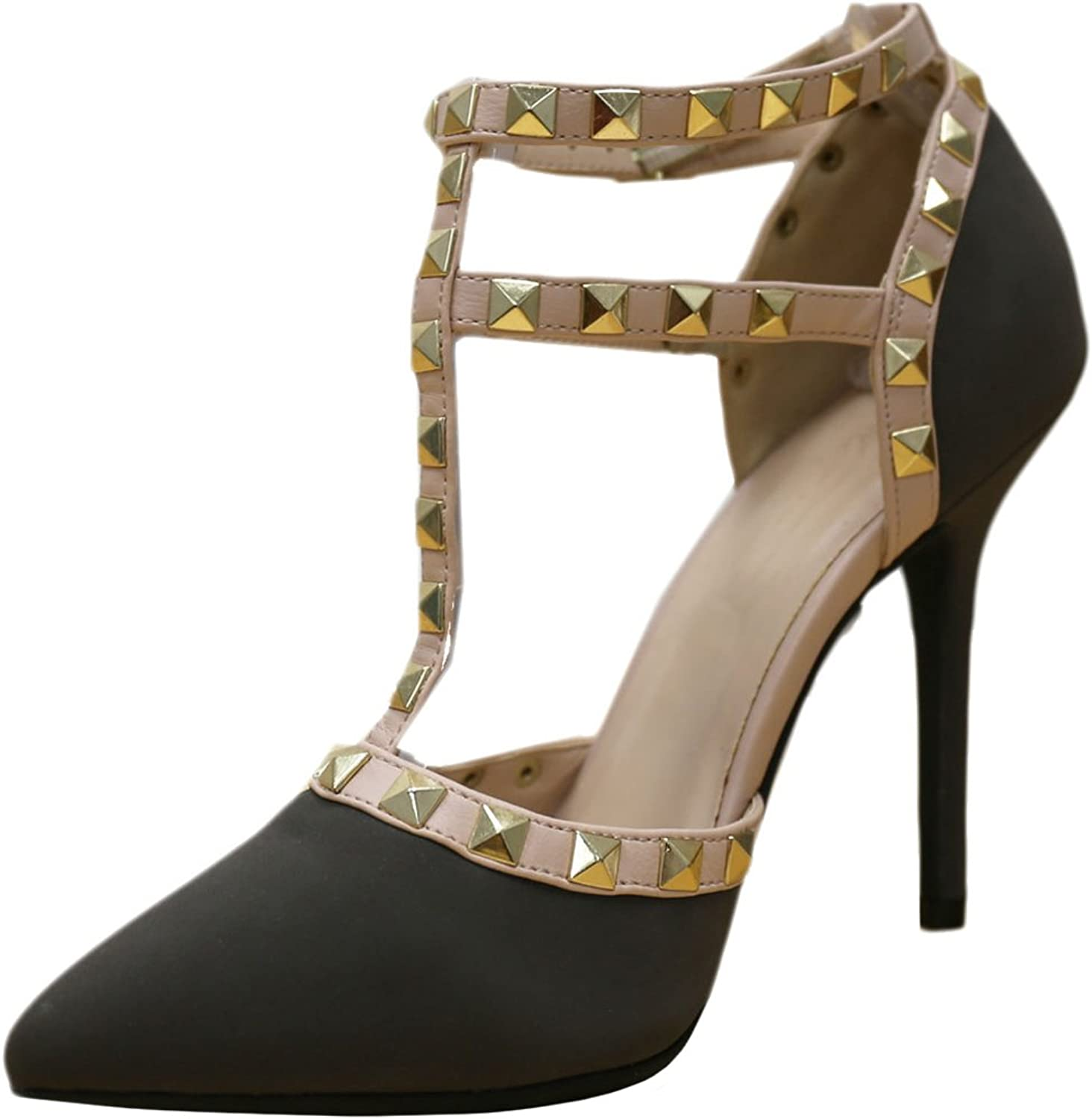 Cambridge Select Women's Closed Pointed Toe T-Strap Caged Studded Buckle High Heeled Pump