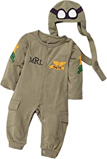 Bilo Baby Boy Army Air Force Baby Romper and Hat 2-pcs Costume