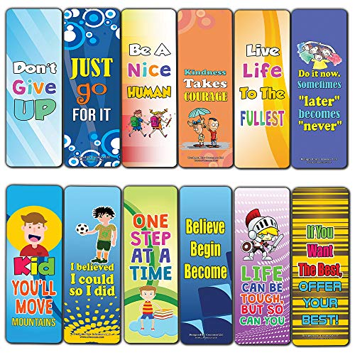 Creanoso Motivational Encouragement Bookmarks for Kids (60-Pack) – Six Assorted Quality Bookmarks Bulk Set – Awesome Bookmarks Giveaways – Stocking Stuffers Gift Ideas – Page Clips
