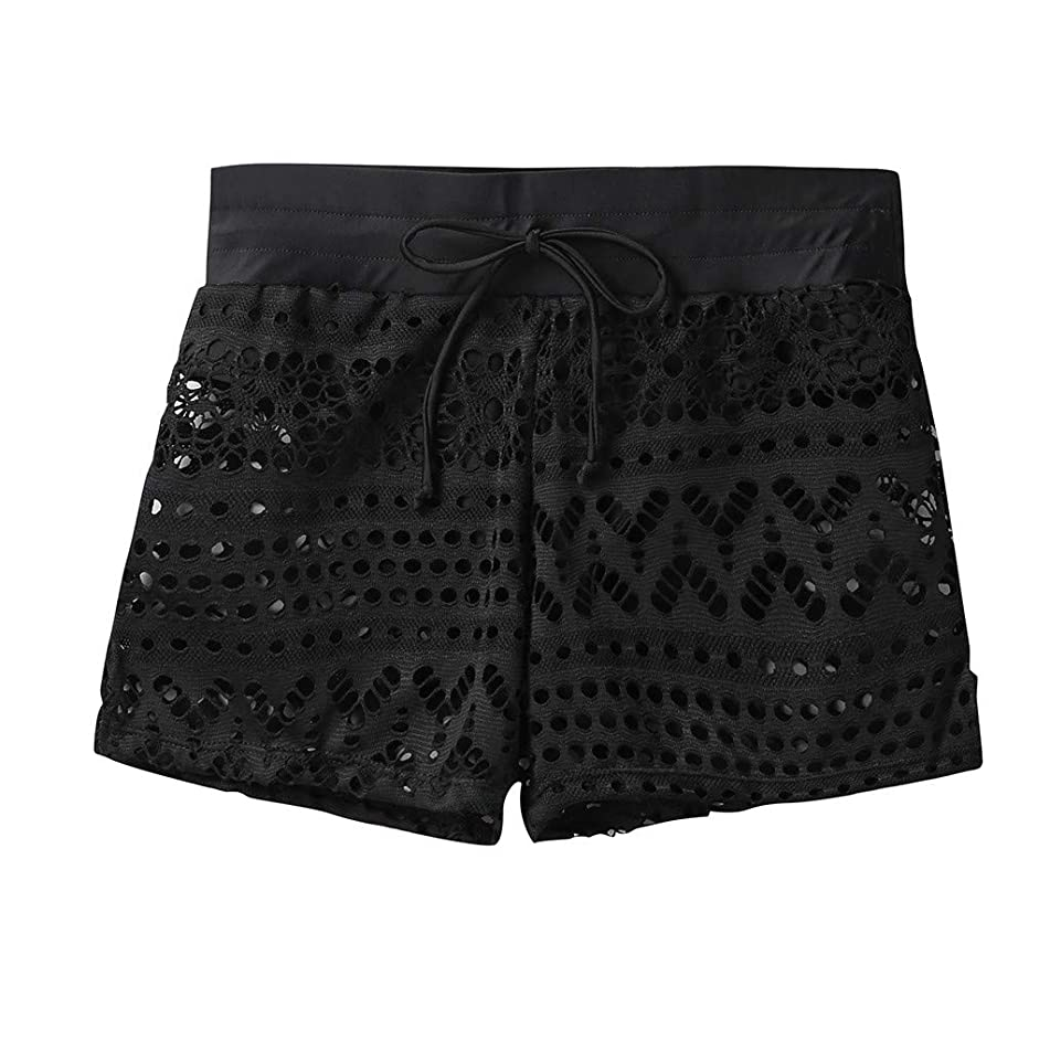 Jiayit Women's Hollow Shorts Fashion Solid Color Beach Shorts Sexy Shorts Hot Pants Breathable Comfort