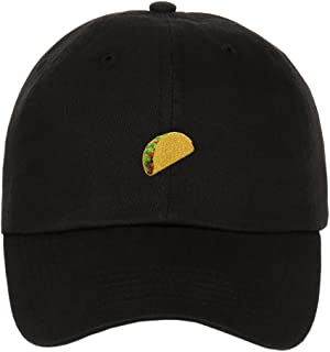 Taco Emoji Logo On Unstructured Cotton Low Profile Strapback Baseball Dad Cap