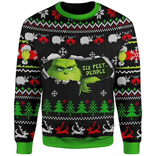 Mooley Funny The-Grinch Six Feet People Quarantine 2020 3D All-Over Full Printed Sweatshirt Fake Ugly Christmas Sweater