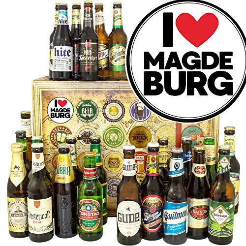 I love Magdeburg ++ Magdeburg Geschenk ++ 24 Biere aus der Welt und D/Adventskalender mit Bier