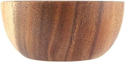 Solid Acacia Wooden Bowl for Salad Soup Rice Hand Made Wooden Bowl for Kitchen Utensils(#2)