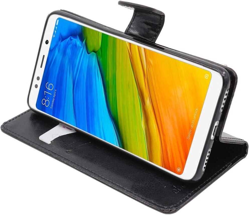 ebestStar - Funda Compatible con Xiaomi Redmi 5 Carcasa Cartera Cuero PU, Funda Libro Billetera Ranuras Tarjeta, Función Soporte, Negro [Aparato: 151.8 x 72.8 x 7.7mm, 5.7'']