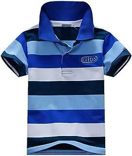 ANKECHANG 子供服 ブラウス 男の子 シャツ 半袖 夏服 ストライプ 欧米風 発表会 普段着 通園 通学