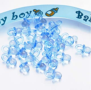 Tweal Mini Chupetes Decoraciones para Bebé,Decoración de Fiesta de Baño,Decoración de Mini Chupetes 50 Piezas (Azul)