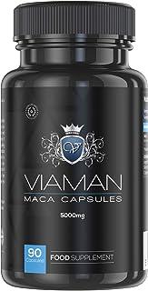 Maca Andina Cápsulas Pura Concentrada Vegana Alta Dosis 5000 mg - Aumenta Testosterona. Rendimiento Masculino. Concentración y Energía. Potenciador Masa Muscular. Estimulante Natural. 90 Cápsulas