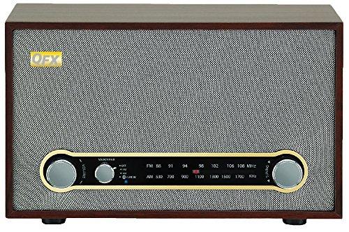 QFX RETRO100 Retro Bluetooth Am FM Desktop Radio Brown