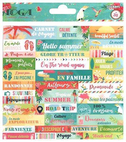 Toga Tropical Paradise - Láminas de pegatinas, multicolor, 15 x 0,1 cm