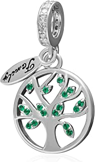 Family Tree of Life Dangle Charm 925 Sterling Silver Pendants for Women Fit European Bracelet