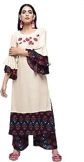 Zoeyams Womens Multicolored Rayon Machine Embroidery Long Anarkali Kurta With Rayon Palazzo