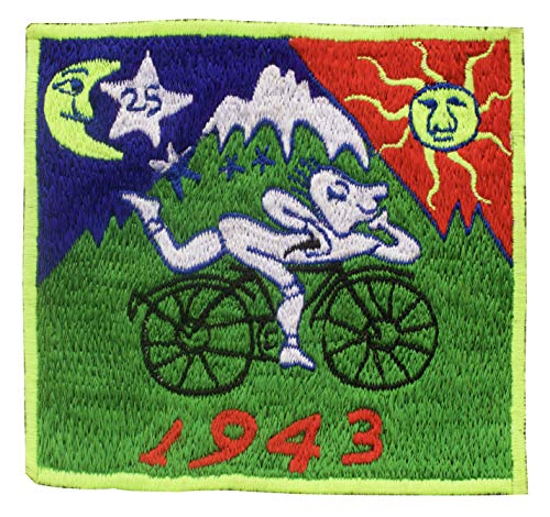 ImZauberwald Bicycle Day Patch (~9cm patch, Schwarzlicht aktiv) LSD vintage Aufnäher Goa Trance Albert Hofmann Fahrrad Kult Trip